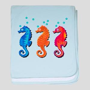 Three seahorses baby blanket