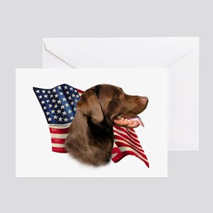 Chocolate Lab Fla Greeting Cards