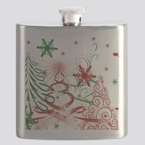 Abstract Green and Red Christmas Tree Flask