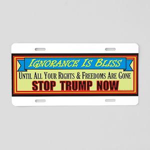 Stop Trump Now Aluminum License Plate
