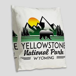 YELLOWSTONE NATIONAL PARK WYOM Burlap Throw Pillow