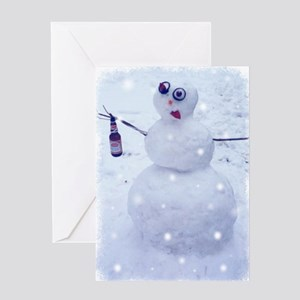 Drunken Snowman Greeting Cards