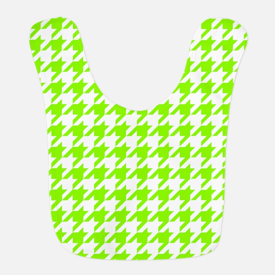 Green, Lime: Houndstooth Checke Polyester Baby Bib