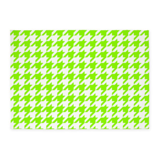 Green, Lime: Houndstooth Checkered 5'x7'Area Rug By Colors