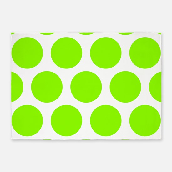 Green, Lime: Polka Dots Pattern (La 5'x7'Area Rug