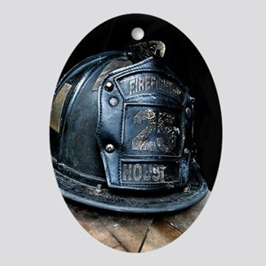Houston Fire Fighter Oval Ornament