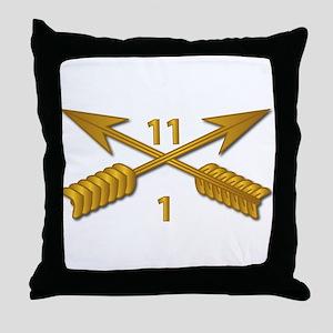 1st Bn 11th SFG Branch wo Txt Throw Pillow