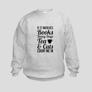 Books Tea Cats Sweatshirt