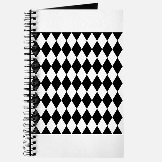 Black and White Harlequin Pattern Journal