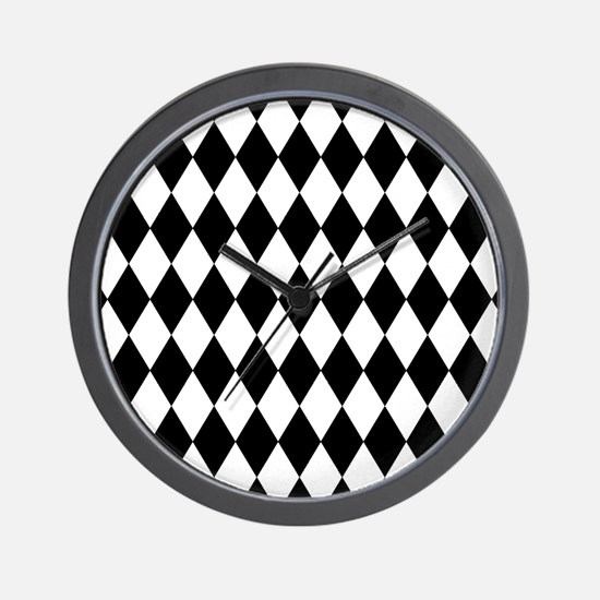 Black and White Harlequin Pattern Wall Clock