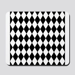 Black and White Harlequin Pattern Mousepad