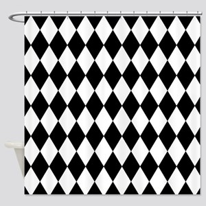 Black and White Harlequin Pattern Shower Curtain