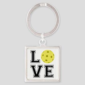 Love Pickleball Square Keychain