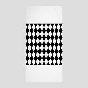 Black and White Harlequin Pattern Beach Towel