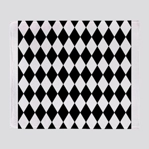 Black and White Harlequin Pattern Throw Blanket