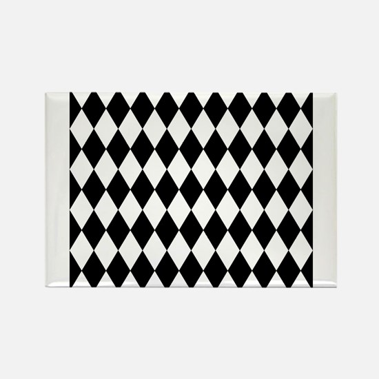 Black and White Harlequin Pattern Magnets