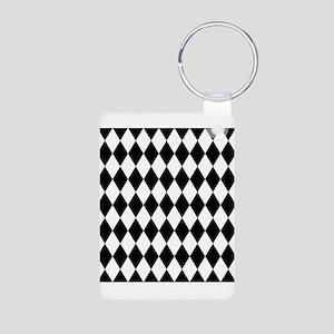 Black and White Harlequin Pattern Keychains