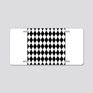 Black and White Harlequin P Aluminum License Plate
