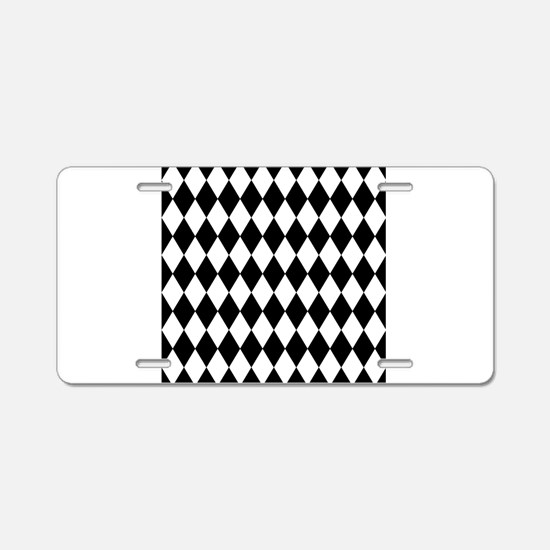 Black and White Harlequin P Aluminum License Plate
