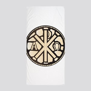 Alpha Omega Stain Glass Beach Towel