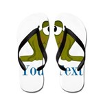 Personalizable Blue Frog Flip Flops