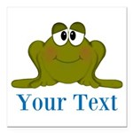 Personalizable Blue Frog Square Car Magnet 3