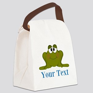 Personalizable Blue Frog Canvas Lunch Bag
