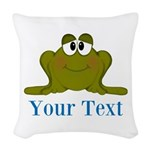 Personalizable Blue Frog Woven Throw Pillow