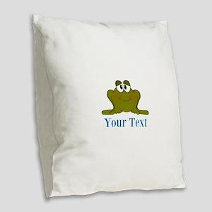 Personalizable Blue Frog Burlap Throw Pillow