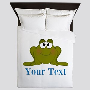 Personalizable Blue Frog Queen Duvet