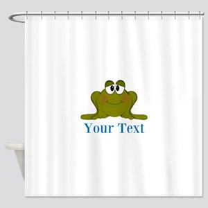 Personalizable Blue Frog Shower Curtain