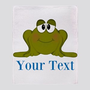 Personalizable Blue Frog Throw Blanket