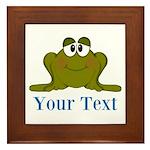 Personalizable Blue Frog Framed Tile