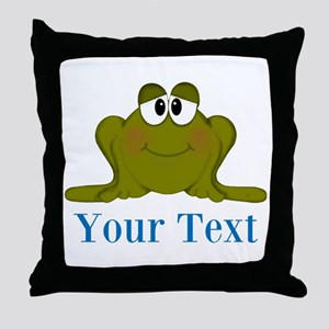 Personalizable Blue Frog Throw Pillow