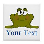 Personalizable Blue Frog Tile Coaster