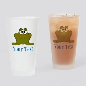 Personalizable Blue Frog Drinking Glass