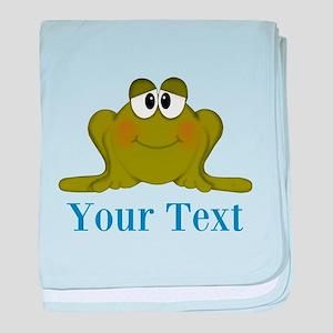 Personalizable Blue Frog baby blanket