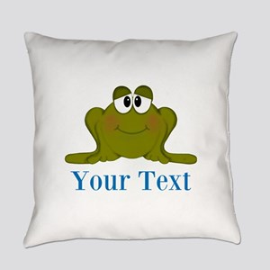 Personalizable Blue Frog Everyday Pillow