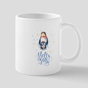 Cute Holly Jolly Boho Pinguine Watercolors Il Mugs