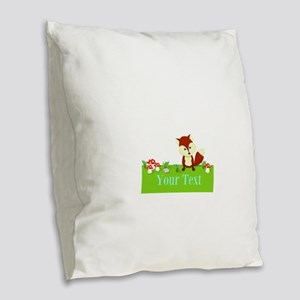 Personalizable Fox in the Woods Burlap Throw Pillo