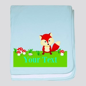 Personalizable Fox in the Woods baby blanket