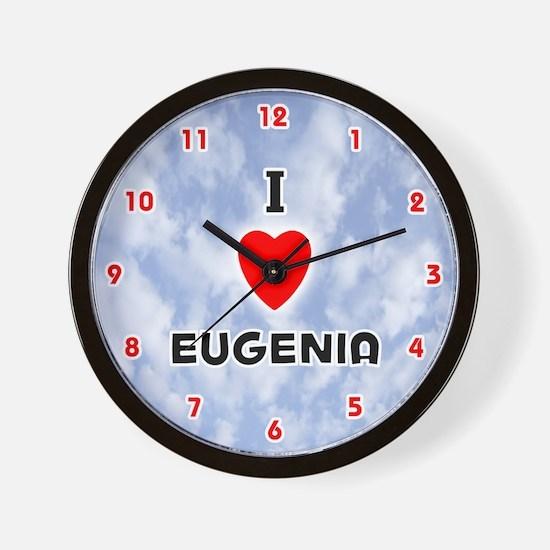 I Love Eugenia (Red/Blk) Valentine Wall Clock