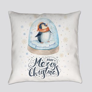Very Merry Christmas Typography &a Everyday Pillow
