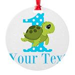 Sea Turtle First Birthday Blue Polka Dot Ornament