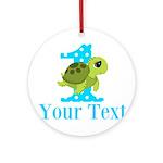 Sea Turtle First Birthday Blue Polka Dot Round Orn