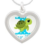 Sea Turtle First Birthday Blue Polka Dot Necklaces