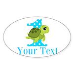 Sea Turtle First Birthday Blue Polka Dot Sticker