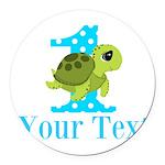Sea Turtle First Birthday Blue Polka Dot Round Car