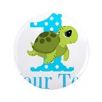 Sea Turtle First Birthday Blue Polka Dot 3.5