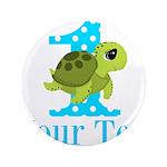 Sea Turtle First Birthday Blue Polka Dot Button